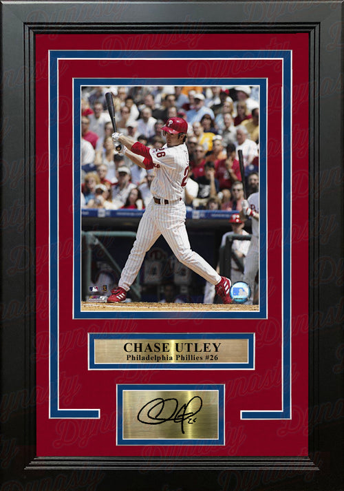 Chase Utley Swinging at the Plate Philadelphia Phillies 8x10 Framed Photo with Engraved Autograph - Dynasty Sports & Framing