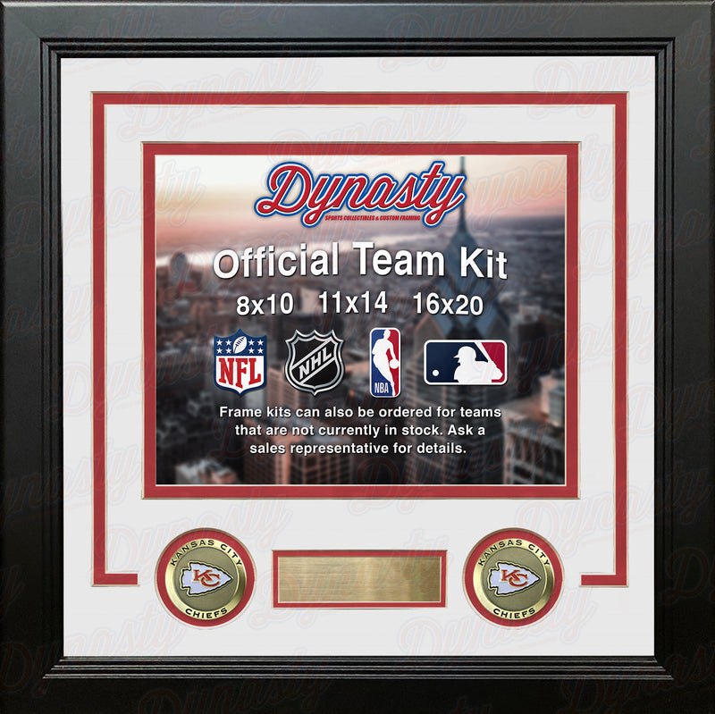 NFL Football Photo Picture Frame Kit - Kansas City Chiefs (White Matting, Red Trim) - Dynasty Sports & Framing