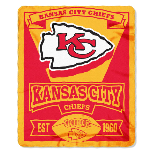 "Kansas City Chiefs NFL Football 50"" x 60"" Marquee Fleece Blanket"