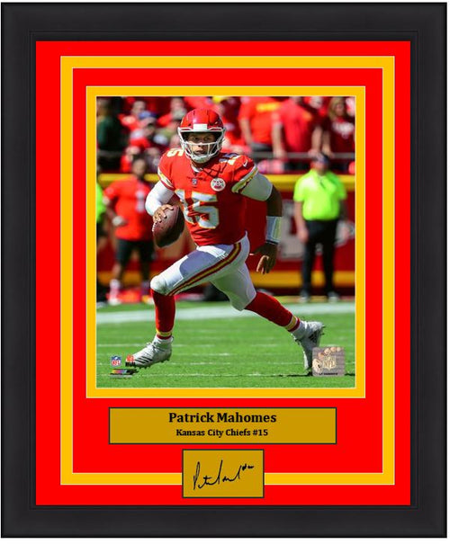 "Patrick Mahomes in Action Kansas City Chiefs 8"" x 10"" Framed Football Photo with Engraved Autograph - Dynasty Sports & Framing"
