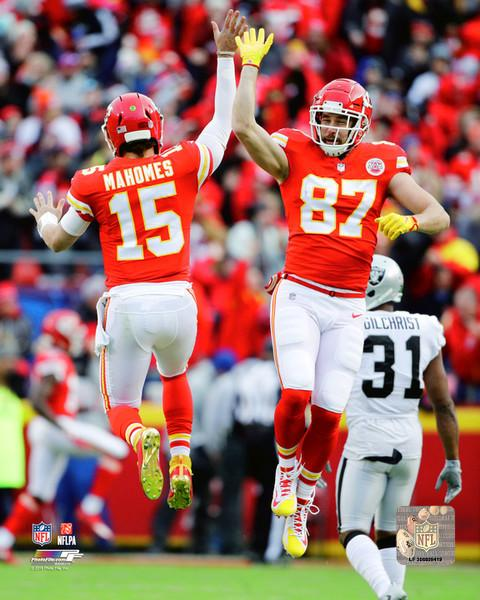 "Patrick Mahomes & Travis Kelce Kansas City Chiefs Celebration NFL Football 8"" x 10"" Photo - Dynasty Sports & Framing"