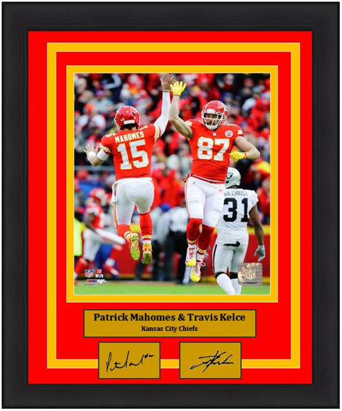 "Patrick Mahomes & Travis Kelce Kansas City Chiefs Celebration NFL Football 8"" x 10"" Framed and Matted Photo with Engraved Autographs - Dynasty Sports & Framing"