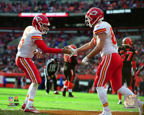 "Patrick Mahomes & Travis Kelce Kansas City Chiefs Endzone NFL Football 8"" x 10"" Photo"