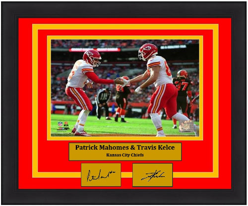 "Patrick Mahomes & Travis Kelce Kansas City Chiefs Endzone NFL Football 8"" x 10"" Framed and Matted Photo with Engraved Autographs"