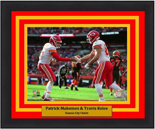 "Patrick Mahomes & Travis Kelce Kansas City Chiefs Endzone NFL Football 8"" x 10"" Framed and Matted Photo"