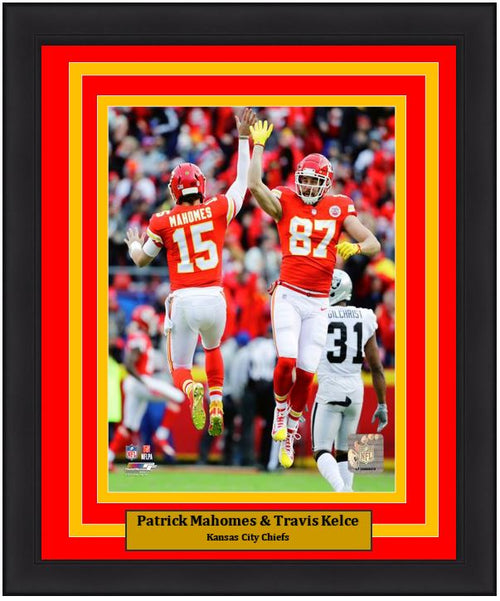 "Patrick Mahomes & Travis Kelce Kansas City Chiefs Celebration NFL Football 8"" x 10"" Framed and Matted Photo - Dynasty Sports & Framing"