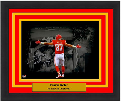 "Travis Kelce Kansas City Chiefs Blackout Autographed 11"" x 14"" Framed Football Photo - Dynasty Sports & Framing"