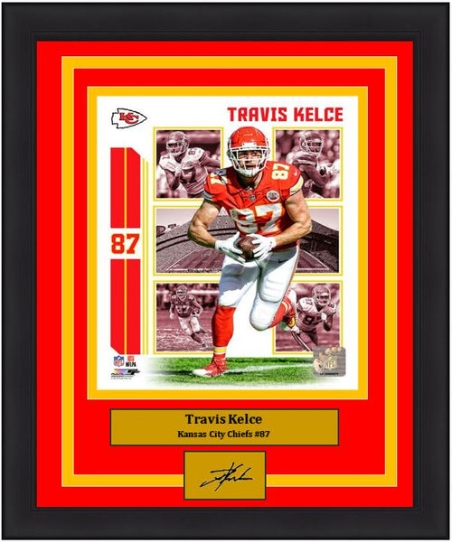 "Travis Kelce Player Collage Kansas City Chiefs NFL Football 8"" x 10"" Framed and Matted Photo with Engraved Autograph"