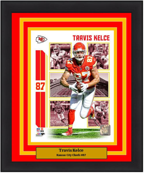 "Travis Kelce Player Collage Kansas City Chiefs NFL Football 8"" x 10"" Framed and Matted Photo"