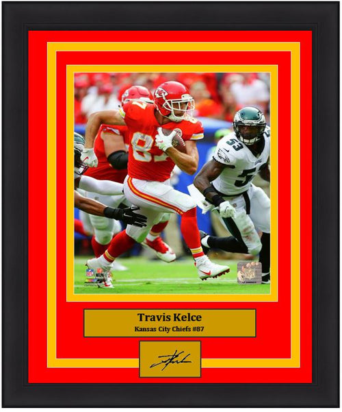 "Travis Kelce in Action Kansas City Chiefs 8"" x 10"" Framed Football Photo with Engraved Autograph - Dynasty Sports & Framing"