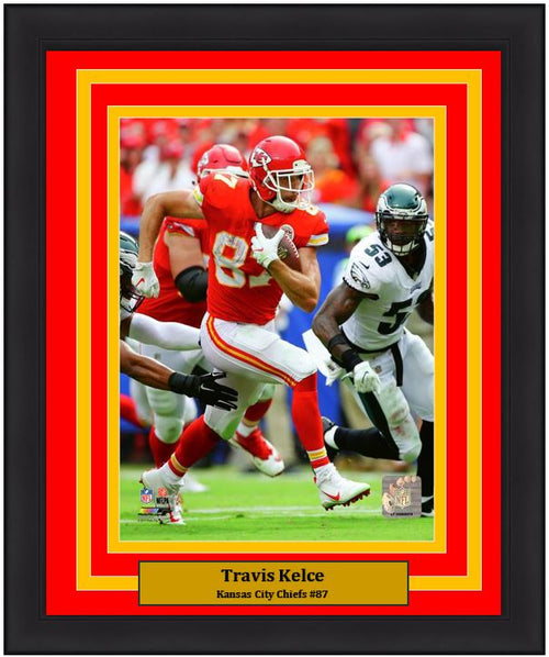 "Travis Kelce in Action Kansas City Chiefs 8"" x 10"" Framed Football Photo - Dynasty Sports & Framing"