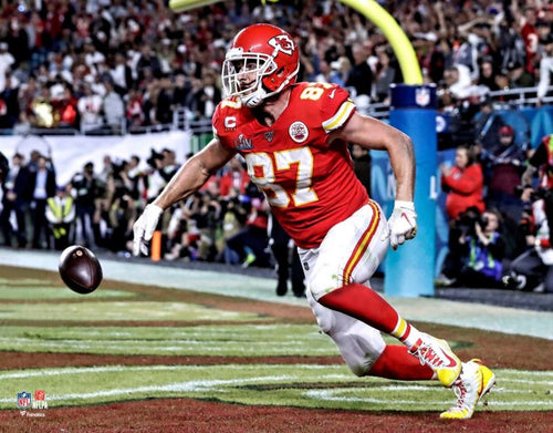 "Travis Kelce Touchdown Super Bowl LIV Kansas City Chiefs 8"" x 10"" Football Photo - Dynasty Sports & Framing"