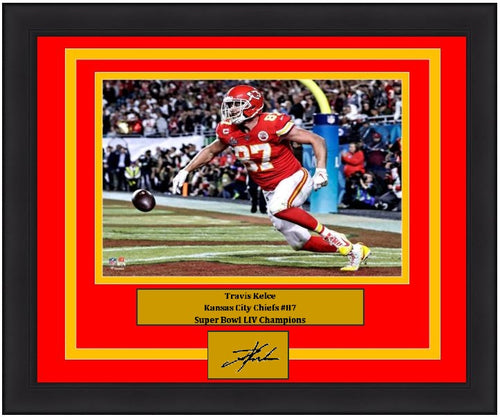 Travis Kelce Touchdown Super Bowl LIV Kansas City Chiefs 8x10 Framed Photo with Engraved Autograph - Dynasty Sports & Framing