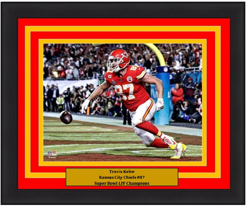 "Travis Kelce Touchdown Super Bowl LIV Kansas City Chiefs 8"" x 10"" Framed Football Photo - Dynasty Sports & Framing"