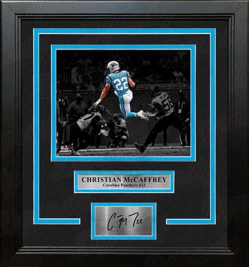 Christian McCaffrey Blackout Carolina Panthers 8x10 Framed Football Photo with Engraved Autograph - Dynasty Sports & Framing