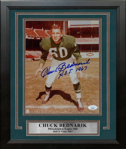"Chuck Bednarik Profile Philadelphia Eagles Autographed 8"" x 10"" Framed Football Photo - Dynasty Sports & Framing"