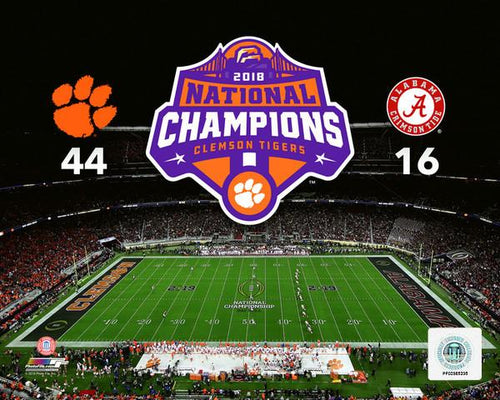 "Clemson Tigers 2018 National Champions Field Score College Football 8"" x 10"" Photo - Dynasty Sports & Framing"