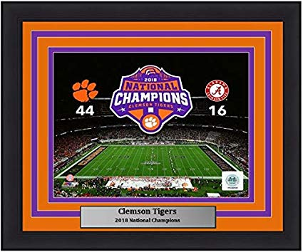 "Clemson Tigers 2018 National Champions Field Score College Football 8"" x 10"" Framed and Matted Photo - Dynasty Sports & Framing"