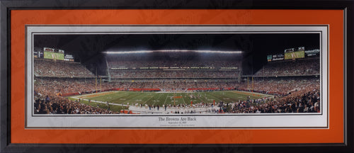 Cleveland Browns FirstEnergy Stadium The Browns are Back NFL Football Rob Arra Framed and Matted Stadium Panorama - Dynasty Sports & Framing