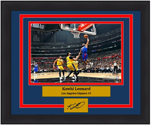 "Kawhi Leonard Lay-Up Los Angeles Clippers 8"" x 10"" Framed Basketball Photo with Engraved Autograph - Dynasty Sports & Framing"