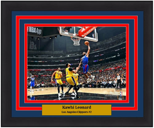 "Kawhi Leonard Lay-Up Los Angeles Clippers 8"" x 10"" Framed Basketball Photo - Dynasty Sports & Framing"