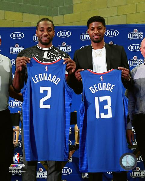 "Kawhi Leonard & Paul George Los Angeles Clippers Jersey Reveal Basketball 8"" x 10"" Photo - Dynasty Sports & Framing"