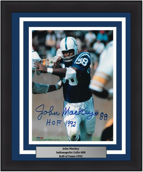 John Mackey in Action Baltimore Colts Autographed 8x10 Framed Football Photo with Inscription - Dynasty Sports & Framing