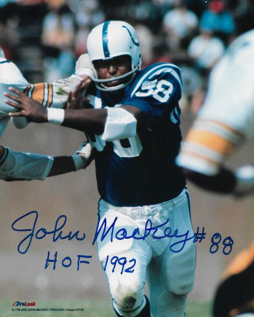John Mackey in Action Baltimore Colts Autographed 8x10 Football Photo with Hall of Fame Inscription - Dynasty Sports & Framing
