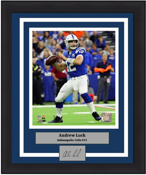 "Indianapolis Colts Andrew Luck Engraved Autograph NFL Football 8"" x 10"" Framed & Matted Photo (Dynasty Signature Collection) - Dynasty Sports & Framing"