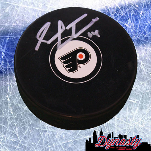 Philadelphia Flyers Sean Couturier Autographed NHL Hockey Logo Puck - Dynasty Sports & Framing