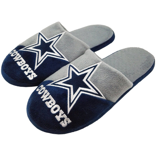 Dallas Cowboys Colorblock Big Logo Men's Slippers - Dynasty Sports & Framing
