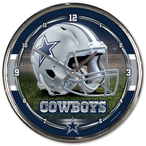 Dallas Cowboys Round Chrome Clock