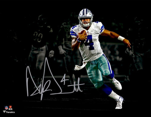 "Dak Prescott Dallas Cowboys Blackout Autographed NFL Football 11"" x 14"" Photo"
