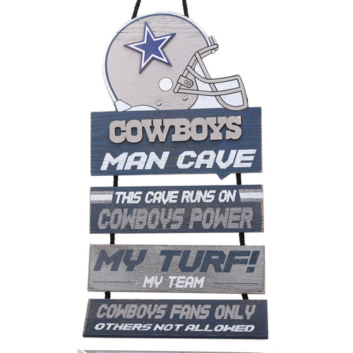 Dallas Cowboys NFL Football Wooden Helmet Man Cave Dangle Sign - Dynasty Sports & Framing