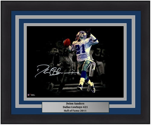 "Deion Sanders Dallas Cowboys Blackout Autographed NFL Football 11"" x 14"" Framed and Matted Photo"