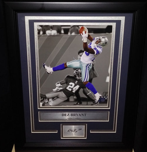 "Dallas Cowboys Dez Bryant Engraved Autograph NFL Football 8"" x 10"" Framed & Matted Photo (Dynasty Signature Collection) - Dynasty Sports & Framing"