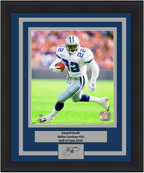 "Emmitt Smith in Action Dallas Cowboys 8"" x 10"" Framed Football Photo with Engraved Autograph - Dynasty Sports & Framing"