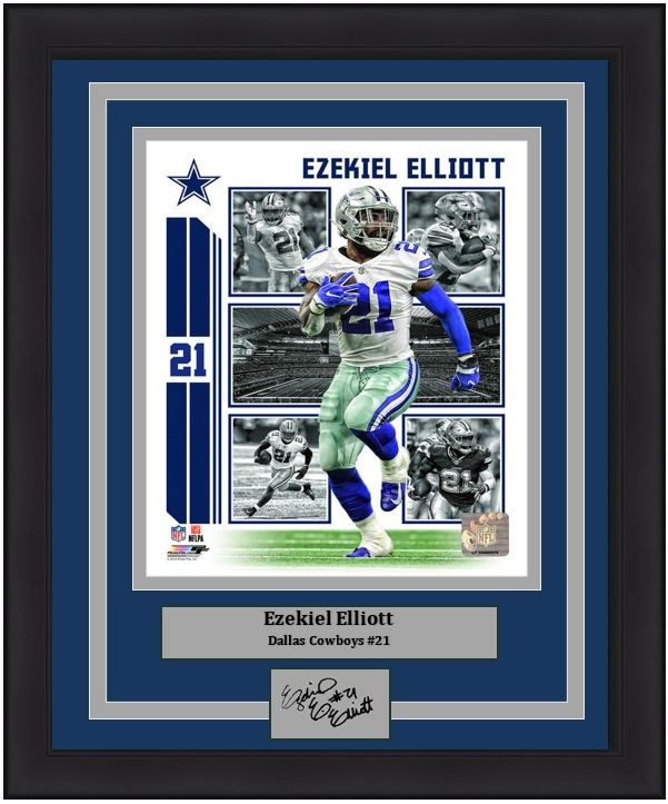 "Ezekiel Elliott Player Collage Dallas Cowboys NFL Football 8"" x 10"" Framed and Matted Photo with Engraved Autograph"