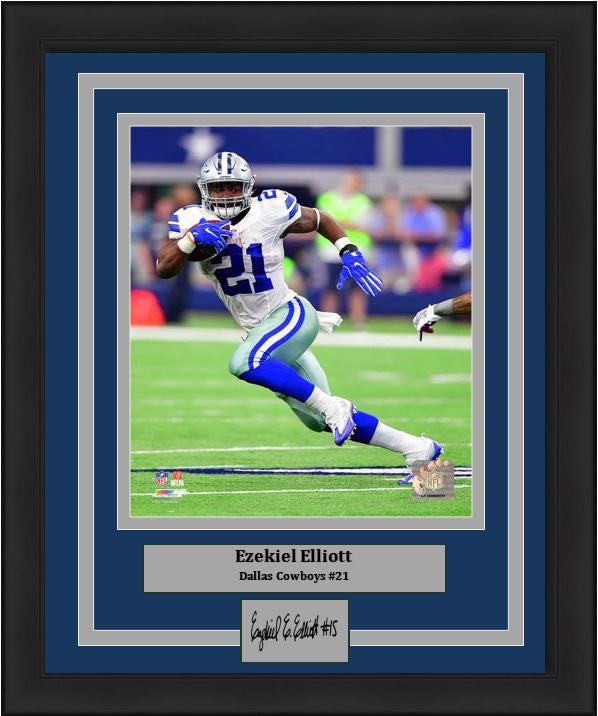 "Dallas Cowboys Ezekiel Elliott Run Cut Engraved Autograph NFL Football 8"" x 10"" Framed and Matted Photo (Dynasty Signature Collection) - Dynasty Sports & Framing"