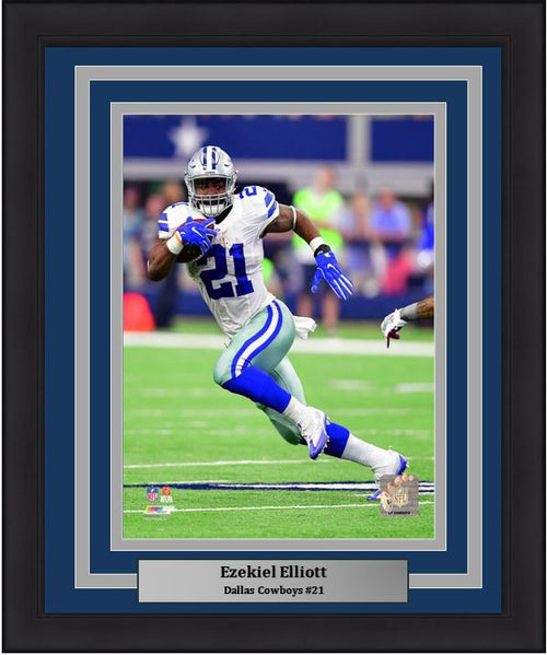 "Dallas Cowboys Ezekiel Elliott Run Cut NFL Football 8"" x 10"" Framed and Matted Photo - Dynasty Sports & Framing"