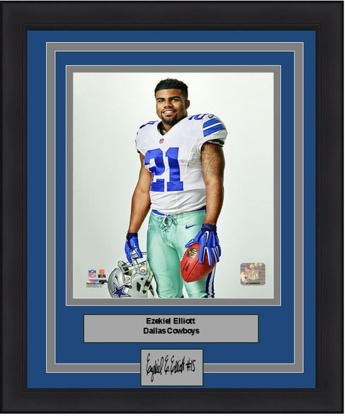 "Dallas Cowboys Ezekiel Elliott Studio Engraved Autograph NFL Football 8"" x 10"" Framed and Matted Photo (Dynasty Signature Collection) - Dynasty Sports & Framing"