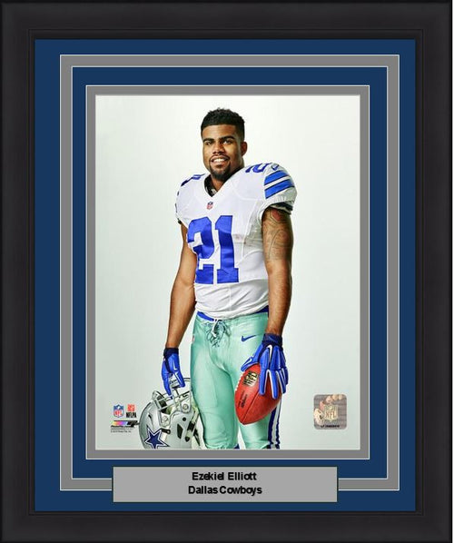 "Dallas Cowboys Ezekiel Elliott Studio 8"" x 10"" Framed and Matted Photo - Dynasty Sports & Framing  - 1"