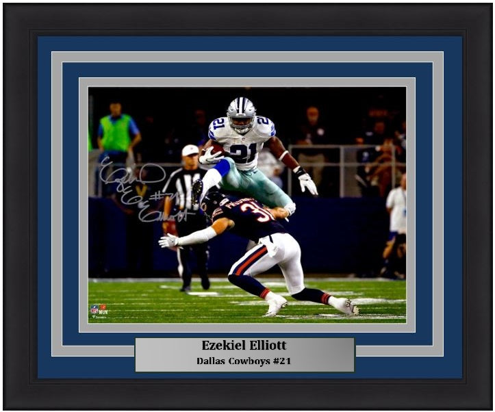 factory price 4af31 7f4df Ezekiel Elliott Leap Dallas Cowboys Autographed NFL Football Framed and  Matted Photo