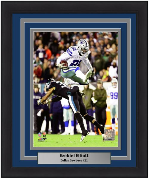 "Dallas Cowboys Ezekiel Elliott v. The Eagles NFL Football 8"" x 10"" Framed and Matted Photo"