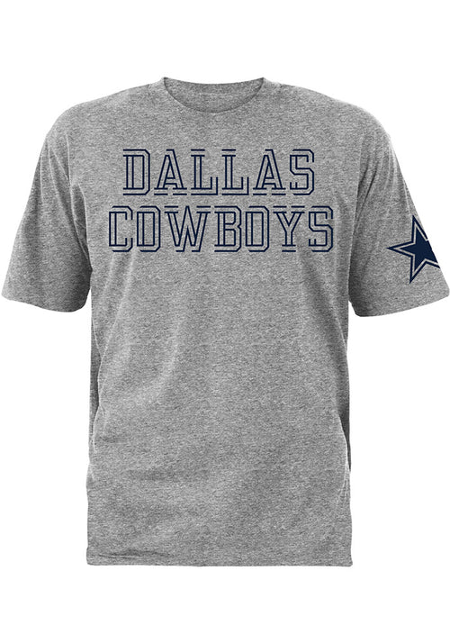 Dallas Cowboys Grey Double Cut Short Sleeve NFL Football T-Shirt - Dynasty Sports & Framing