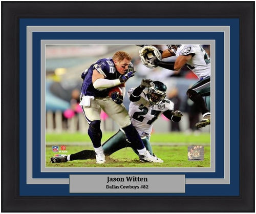 Jason Witten No-Helmet Run v. the Eagles Dallas Cowboys NFL Football Framed and Matted Photo - Dynasty Sports & Framing