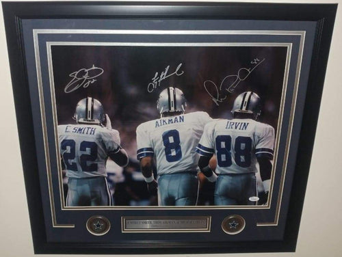 "Emmitt Smith, Troy Aikman, & Michael Irvin Dallas Cowboys Triplets Autographed 16"" x 20"" Framed Photo"