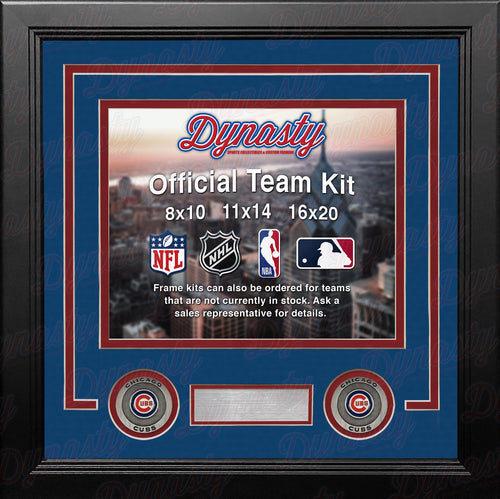 MLB Baseball Photo Picture Frame Kit - Chicago Cubs (Blue Matting, Red Trim) - Dynasty Sports & Framing