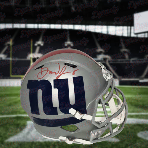 Daniel Jones New York Giants Autographed NFL Football AMP Alternate Speed Helmet - Dynasty Sports & Framing