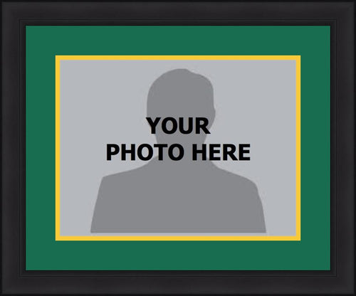 MLB Baseball Photo Picture Frame Kit - Oakland Athletics (Green Matting, Yellow Trim) - Dynasty Sports & Framing